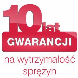 10 lata gwarancji na wytrzymałość sprężyn